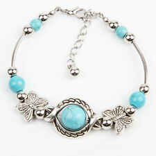 Ladies Tibetan Silver Green Turquoise Inlay Butterfly Bead Bangle Bracelet Chic
