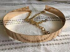 Womens Gold Belt High Waist Metal Mirror Metallic Plate Wide Obi Band Chains NEW