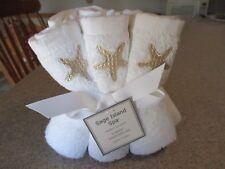 New- Set of 6 White & Gold 100% Cotton Coastal Star Fish Wash Face Cloths
