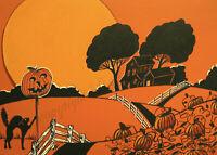 Halloween vintage style JOL black cat moon ACEO Giclee folk art print Criswell