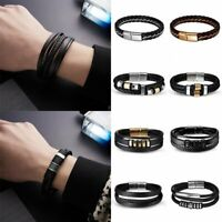 Mens Boys Handmade Leather Braided Cuff Wristband Bracelet Bangle Jewellery Gift