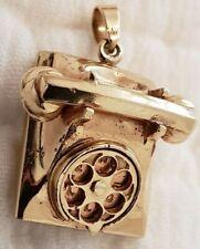 Solid 14k Vintage Antique Movable Charm Pendant Phone Love Heavy Scrap 7.6 Grams