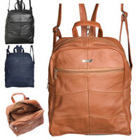 Large Genuine Soft Real Leather Ladies Womens Twin Strap Backpack Rucksack Bag