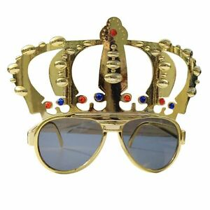 Metallic Gold Crown Sunglasses His Hers Bride Groom Party Shades - King