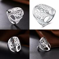 Silver Rings Tree of Life Solid Women Rings Jewelry Size 6-9 Wedding Cute Gift