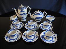 Vintage Royal Cauldon Blue Dragon Oriental Style Coffee Service Set - 16 Pc