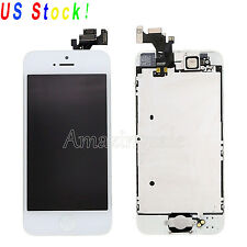 LCD Screen Touch Digitizer Assembly Frame+ Camera +Home Button For iPhone 5 5G