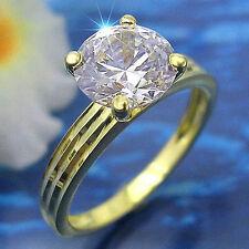 traumhafter vergoldeter Diamonique Ring Solitärring Gr. 17/53 Schmuck Damenring
