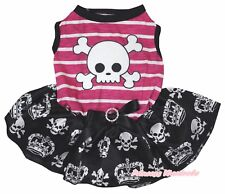 Skeleton Halloween Pink Striped Top Skull Crown Tutu Pet Dog Dress Puppy Clothes
