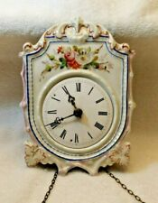 Antique European Wood Cased Wall Clock with Chime & a Decorative Porcelain Front