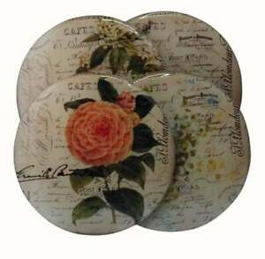 SET OF FOUR ROUND WOODEN  COFFEE COASTERS WINE DRINKS VINTAGE ROSES FRENCH