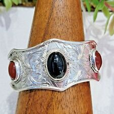925 Sterling Silver hand engraved cuff style wide Bracelet 20 DTW Onyx Calcedony
