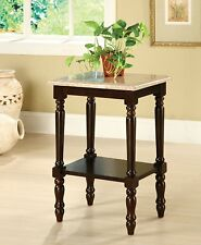 Foa Meredith Table Rectangular Stand with Genuine Marble Top Dark Cherry Finish
