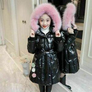 Kids Girls Parka Thick Warm Fur Hooded Jacket Padded Coat Winter Coats Outerwear