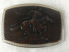 Vintage Pony Express Leather & Metal Belt Buckle by Oden 1977  Hand crafted USA