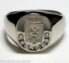 Bague Chavalière Armoirie [ LION ] Homme Argent massif 925 avec 0.12cts Diamants