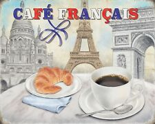 10 x 8 CAFE FRANCAIS FRENCH FRANCE COFFEE BREAD CROISSANT METAL PLAQUE SIGN 1186