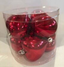 Heart Ornaments Lot of 8 Red Shiny Puff shaped Valentine's Day Nib Free Ship