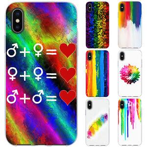 dessana LGBTQ Bunt TPU Silikon Schutz Hülle Case Handy Tasche Cover für Apple