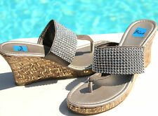 Blue Shoes Joey07 Two Tone Bejeweled Wedge Sandles Size 6-10 Black Pewter Silver