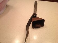 Antique Cow Bell Animal On Leather Strap W/ Buckle Big Clapper Loud Intact