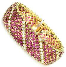 8 Ct Ruby & Sim Diamond Women's Silver Bangle Bracelet 14K Yellow Gold Plated