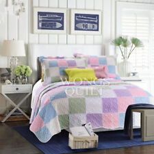 Checked Patchwork Quilted Bedspread Set Queen Size Coverlet Blanket Throw Rug