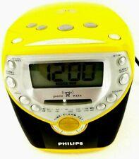 Philips Clock CD Player AM FM Radio Alarm Clock AJ3957/17 Yellow Tested