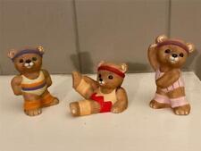 Home Interiors Homco Aerobic Workout Bear Figurines #1448 - Set of Three
