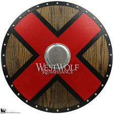 Solid Oak Wood Viking X Cross Shield - Norse Armor - sca/larp/cross/steel/Norway