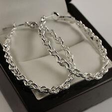 Earrings Drop 40mm - New Uk 204 925 Stamped Sterling Silver Plt Twist Oval Hoop