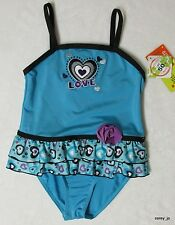 NWT 6 6X  PENELOPE MACK Blue Heart Love Skirted One Piece Swimsuit UPF 50+