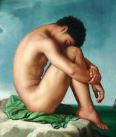 Dream-art oil painting nude male portrait gay - strong man by ocean canvas 36""