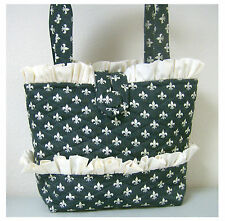 NEW handmade tote handbag Fleur de Lis stylish gray   purse  faffygiraffe