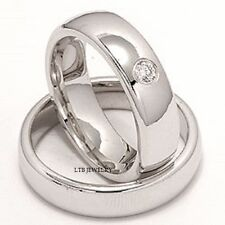18K WHITE GOLD MATCHING HIS & HERS WEDDING BANDS DIAMONDS RINGS  SET 6MM & 6MM