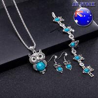Wholesale Retro Blue Turquoise Owl Pendant Necklace Earrings Bracelet Set
