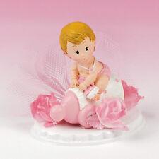 Tortendeko Taufe Baby auf Fläschchen rosa