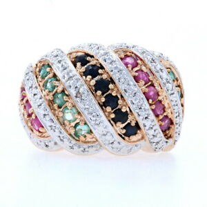 Sterling Sapphire Emerald Ruby Diamond Ring - 925 Rose Gold Plated .98ctw Size 5