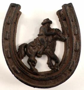 Cowboy Silhouette Cast Iron Horse Shoe Western Door Knocker Metal