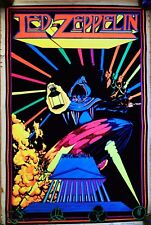 Vintage Led Zeppelin Reaper 1980 Black Light Poster Scorpio Enterprises New York