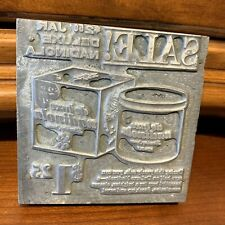 Vintage Wood Metal Print Block Ink Stamp Letter Press Advertisement