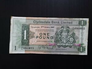 Clydesdale Bank £1 Note. Clean & Crisp. Dated 1967