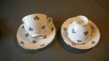 """2 Royal Stafford """"Sweet Violets"""" bone china cups and saucers and creamer"""