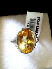 Royal Bali Collection Real Citrine Solitaire Ring on Solid 925 Sterling Silver M