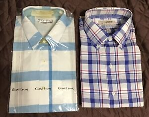 2 New With Tags  Men's Plaid Button Down Collar Shirts Sz L - 16 1/2