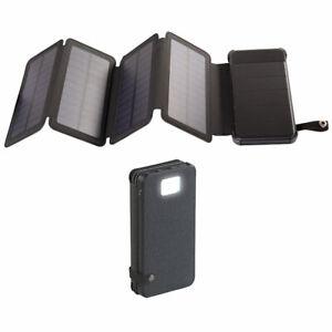 revolt Solar-Powerbank, faltbares Solarpanel, LED-Lampe, 8.000 mAh, 2,1 A, 5W