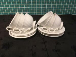 Set of 6 Beautiful China Swirl Cups and 6 Saucers White Made in the Potteries