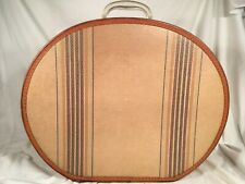 Vintage 30s 40s Leather Trim Hat Box Lock & Key Stripes Large Beige Brown 17.75�