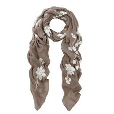 Premium Elegant Lace Floral Embroidered Scarf Wrap - Different Colors Available