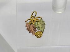 FLAT 10k Yellow Rose Black Hills Gold Landstrom's Grapeleaf Diamond Cut Pendant